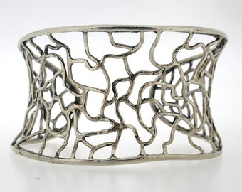 NEW Handcrafted 925 Sterling Silver Cuff Bracelet Unique Design by Poran. Made In Israel