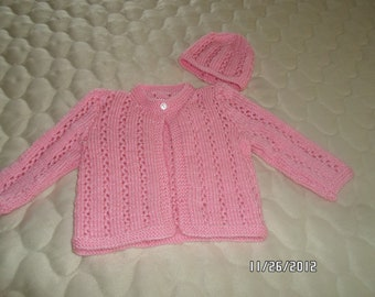 Baby Girl Sweater & Hat Set in Pink