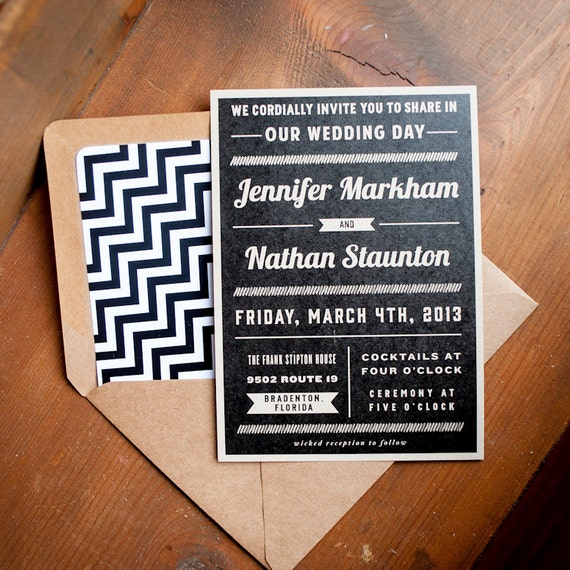 Kraft Wedding Invitation, Typography Wedding Invitation  - The Nathan - rustic wedding invitation, eco, kraft, rustic, typography, modern