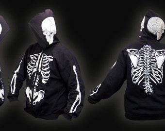 Scorn Skeleton Zipper Hoodie White Bones and Red Bones