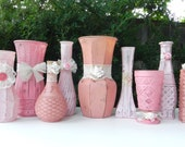 Shabby Chic Lace and Roses Vase Collection for Weddings, Showers, Receptions