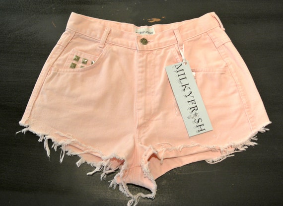 "High Waisted Shorts Size 4 Pink Pastel Calvin Klein Studded Cutoffs Milky Fr3sh ""Marilyn"""
