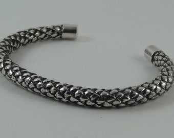 Hand Made Silver Catkin Cuff Bangle Made from 925 Sterling