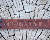 Coexist leather wrist cuff