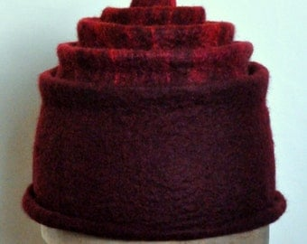 Hand felted merino wool tiered hat