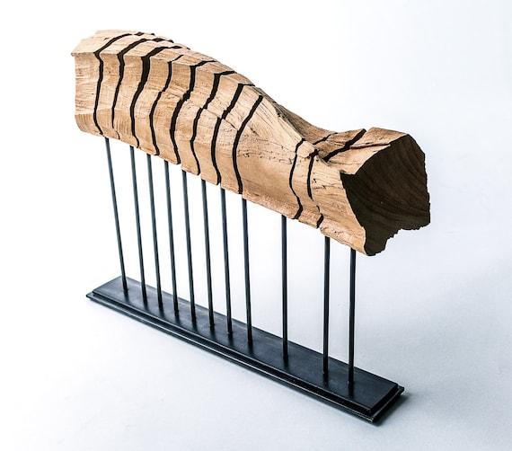 Reclaimed wood sculpture on minimal steel armature