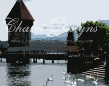 Modern Lucerne Switzerland Digital Photo Chapel Bridge Old World Digital Download