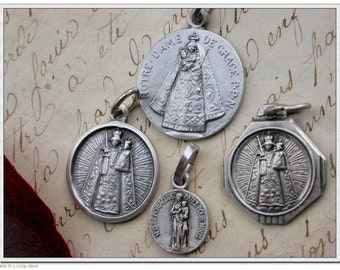 lot 4pcs religious medals solid brass based silver medal vintage medals virgin mary baby child