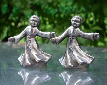French  vintage solid bronze based silver statue toddler dancer baby dancer twin babies dancer vase flower holder