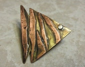 Antiqued Copper and Recycled Brass Angelfish Pin. One Of A Kind. Fish Pin. Exotic Fish. Upcycled Brass and Silver. Unique.
