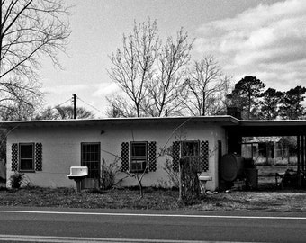 House with 3 sinks on the Eastern Shore of Maryland- a black and white photograph