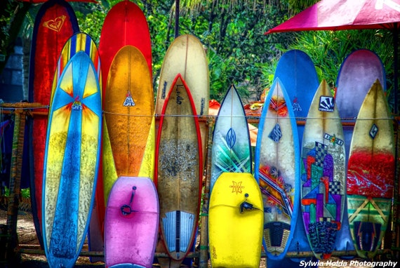 """Items similar to Colourful Surfboards Photograph 12"""" x 8 ...  Neon Surfboards"""