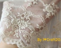 Beige Tulle Embroidered Lace Trim Exquisite Cotton Floral Embroidered Scalloped Lace Trim 9.4 Inches Wide 1 Yard Costume Headware Supplies