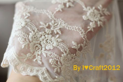 beige tulle embroidered lace trim exquisite cotton floral em