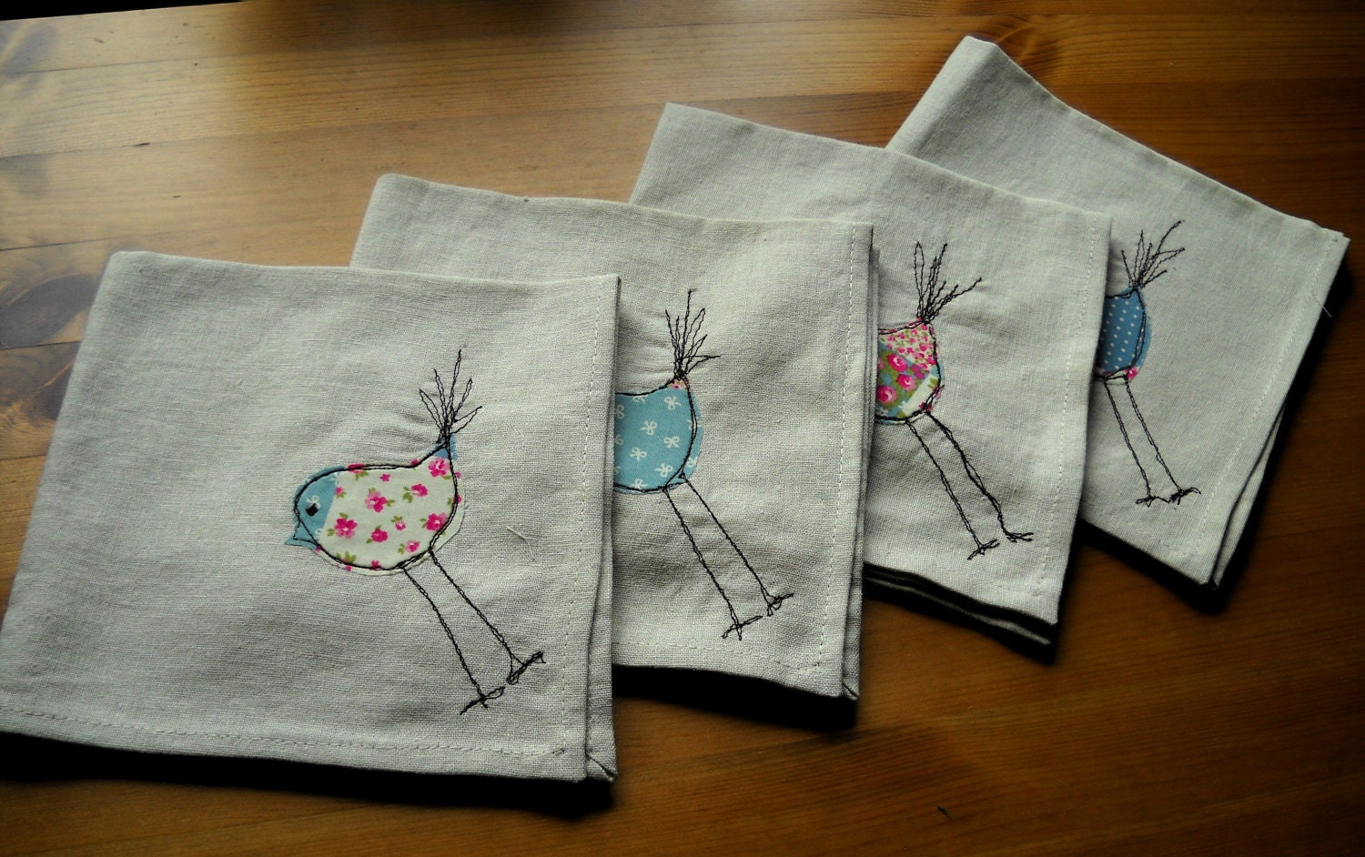 Bird design machine embroidered linen napkins set of four