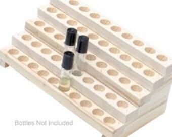 Wooden Display Rack for Fragrance or Essential Oils - 5 Row Bottle Display Rack - Holds 50 Bottles