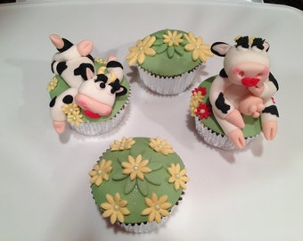 2 Edible Fondant Cow Cake, Cupcake toppers