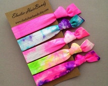 Tie Dye Hair Ties OR Headbands - Cotton Candy Ponytail Holder Collection - Tie Dye