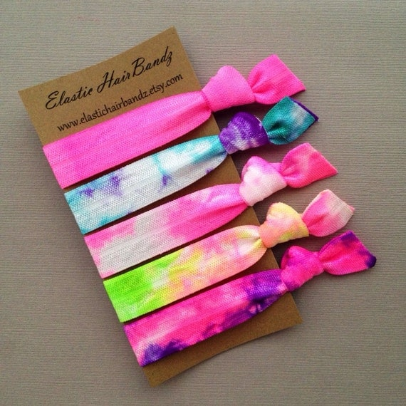 The Cotton Candy Tie Dye Hair Tie -Ponytail Holder Collection - 5 Elastic Hair Ties by Elastic Hair Bandz on Etsy