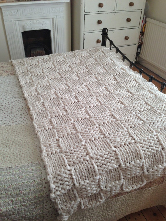 Items similar to Chunky Cream Hand Knitted Blanket ...