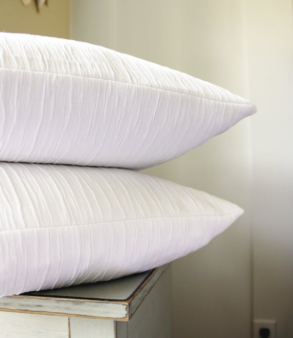 Throw Pillow Covers White : 2 Solid White Pillow Covers Textured Throw Pillows Bright
