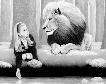 Jill and the Lion - an original 24x18 hand-signed, and numbered print