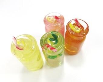 Miniature Drink Jar Resin Drink Charm Bottle Charm Doll House Food Iced Tea Lemonade Pink Mint Green Tea Refreshing Drink Charm Summer
