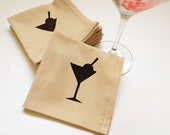 New Years Reusable Cloth Napkins Cocktail Size Set of 6