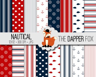 Nautical Digital Paper Pack - INSTANT DOWNLOAD - 12x12 - navy blue, red, white