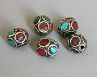 10pcs Nepal Tibetan Brass Bead With Turquoise Coral Inlay 10mm - A270