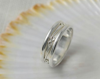 Custom Wedding Ring - Sterling Silver Wedding Band - Personalised Patterned Ring - Handmade Rustic Jewellery