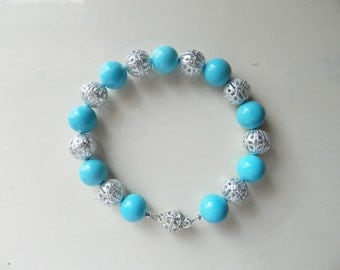 Magnesite and Silver Plated Filigree Beads Bracelet