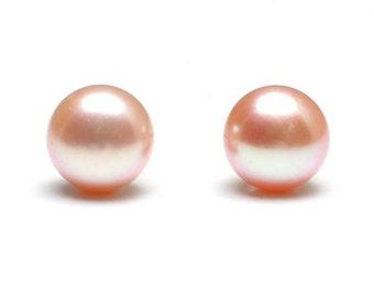 Pink Pearl Stud Earrings 925 Sterling Silver 7mm