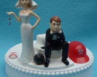 Wedding Cake Topper Washington Nationals Nats Baseball Themed Ball and Chain Key w/ Bridal Garter Humorous Bride Groom Sports Fans Ball Top