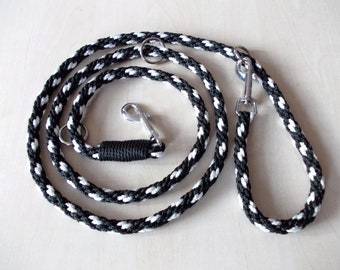 dog leash, hand-plaited, black with white