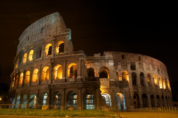 The Colosseum at Night Rome Italy 8 x 10 Original