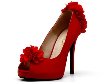 Red Satin Wedding Shoes with Flowers