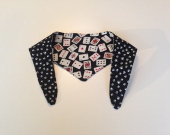 Tie-on Dog Bandana in Playing Cards on Black & White Paws on Black - XSmall/Small/Medium/Large/XLarge