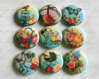 shabby chic victorian floral vintage ephemera fridge magnets set of nine pin badge button cab charm