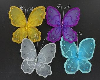 6 inch nylon organza wired decorative butterflies 6 pieces