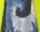 Spiral Tie Dye Hoodie in Shades of Blue- Large