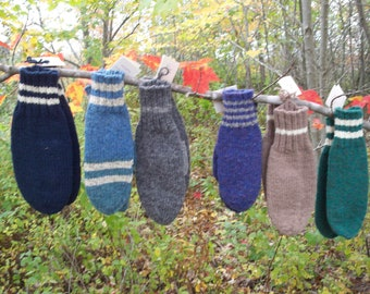 Hand Knit Wool Mittens Mens and Womens Made to Order