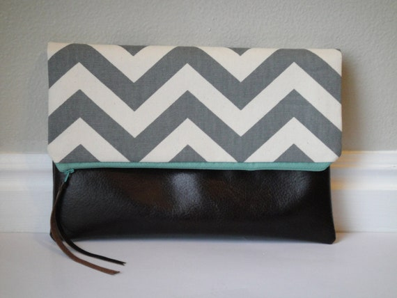 Chevron fold-over zippered clutch