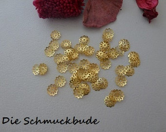 D-03221 - 50 Bead caps Gold 9mm Ø