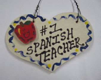 Teacher Gifts  Number One 828 Spanish Teacher Heart