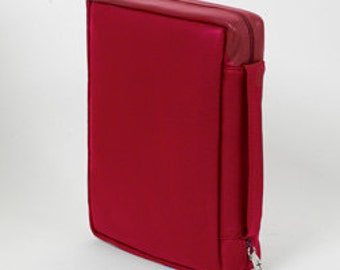 Genuine Leather Bible Case - Red