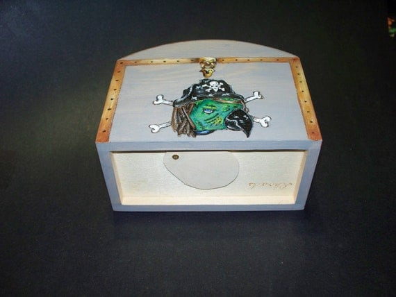 Wooden Chest Bank With Pirate Parrot Head Cossed Bones Wood Burned And Hand Painted
