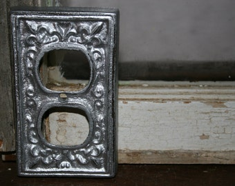 Silver Outlet cover / outlet plates / receptacle covers / socket covers / outlet cover plates / electrical outlet covers  / red