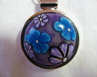 Purple and blue retro style pendant