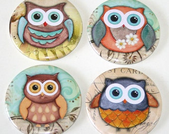 Cute Kawaii Owls - Set of 4 Large Fridge Magnets